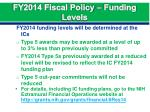 fy2014 fiscal policy funding levels