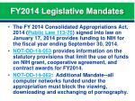 fy2014 legislative mandates