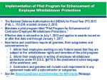 implementation of pilot program for enhancement of employee whistleblower protections