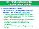 nih fcoi implementation updates and activities