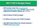 nih fy2014 budget news