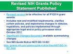 revised nih grants policy statement published