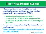 tips for esubmission success