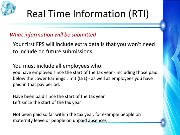 Real Time Information (RTI)