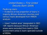 united states v first united security bank 20091