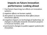 impacts on future innovation performance looking ahead