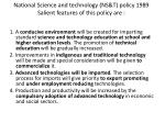 national science and technology ns t policy 1989 salient features of this policy are