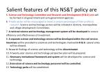 salient features of this ns t policy are