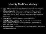 identity theft vocabulary