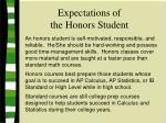 expectations of the honors student