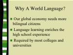 why a world language