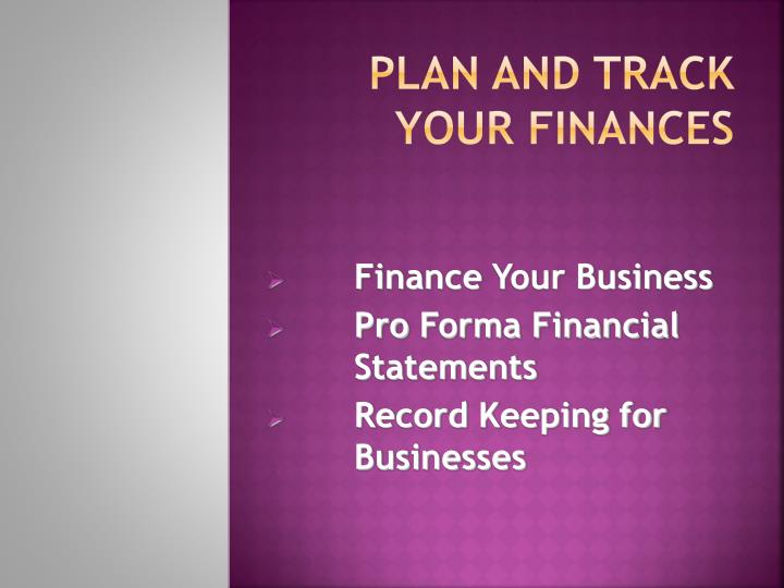 plan and track your finances n.