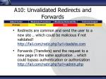 a10 unvalidated redirects and forwards