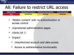 a8 failure to restrict url access
