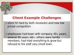 client example challenges