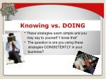 knowing vs doing