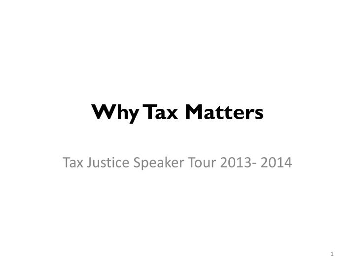 why tax matters n.