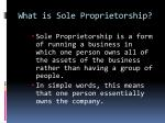 what is sole proprietorship