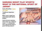 samurai might play sports what is the national sport of japan