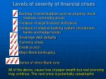 levels of severity of financial crises