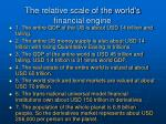 the relative scale of the world s financial engine