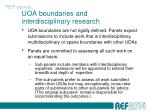 uoa boundaries and interdisciplinary research
