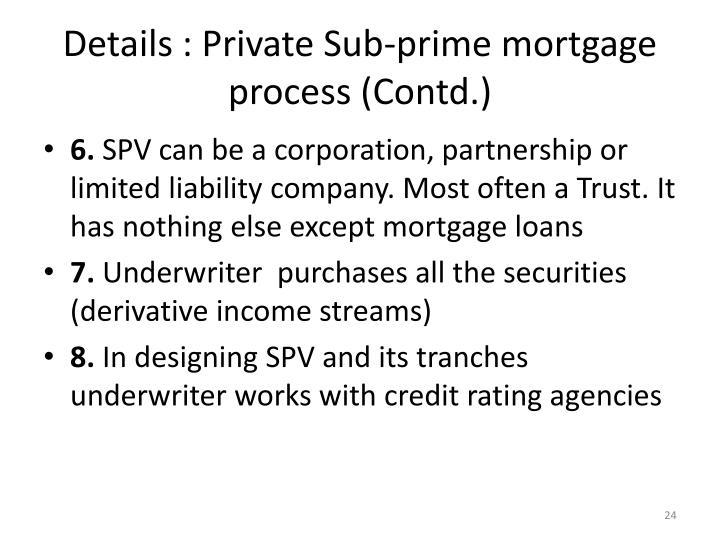 Details : Private Sub-prime mortgage