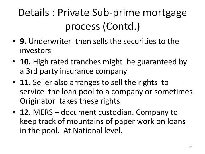 Details : Private Sub-prime mortgage process (Contd.)