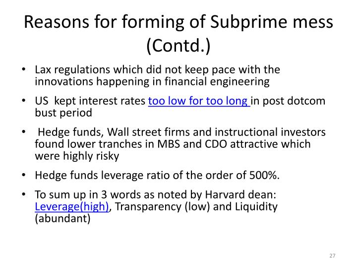 Reasons for forming of Subprime