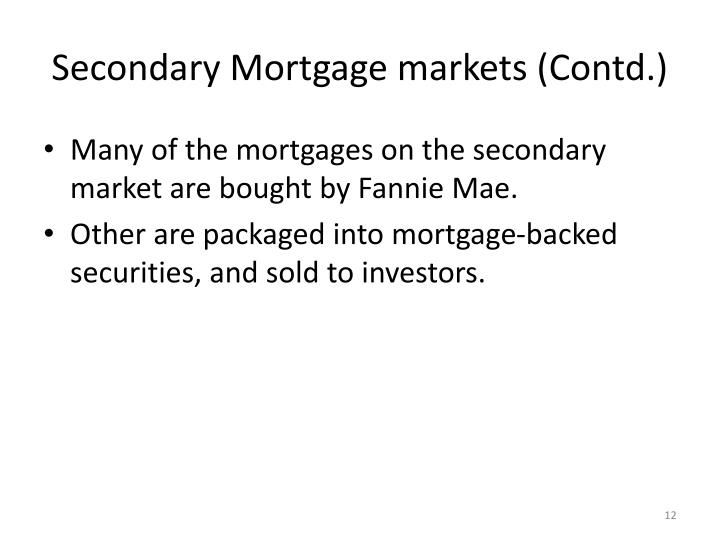 Secondary Mortgage markets (Contd.)