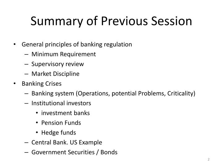 Summary of previous session