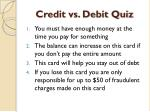 credit vs debit quiz