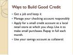 ways to build good credit