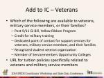 add to ic veterans
