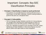 important concepts key soc classification principles