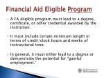financial aid eligible program