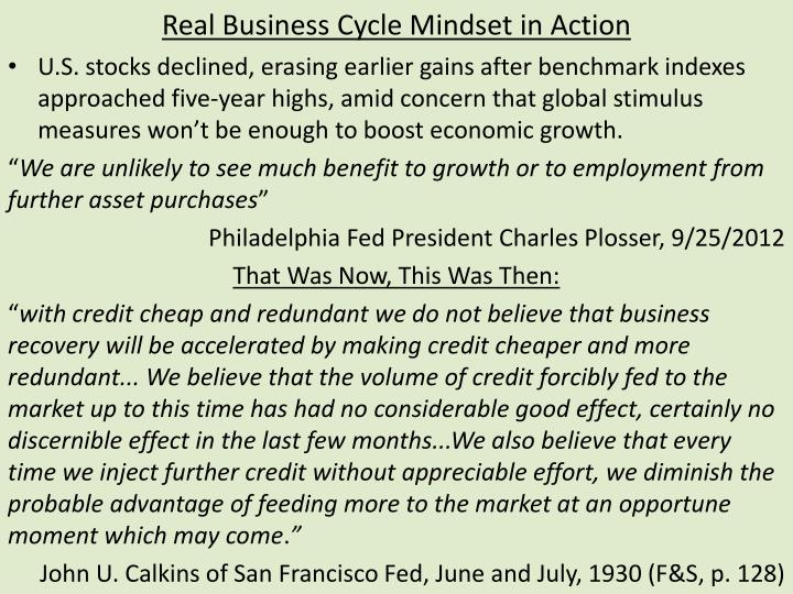 real business cycle mindset in action n.