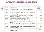 activities done under icgp8