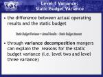 level 1 variance static budget variance