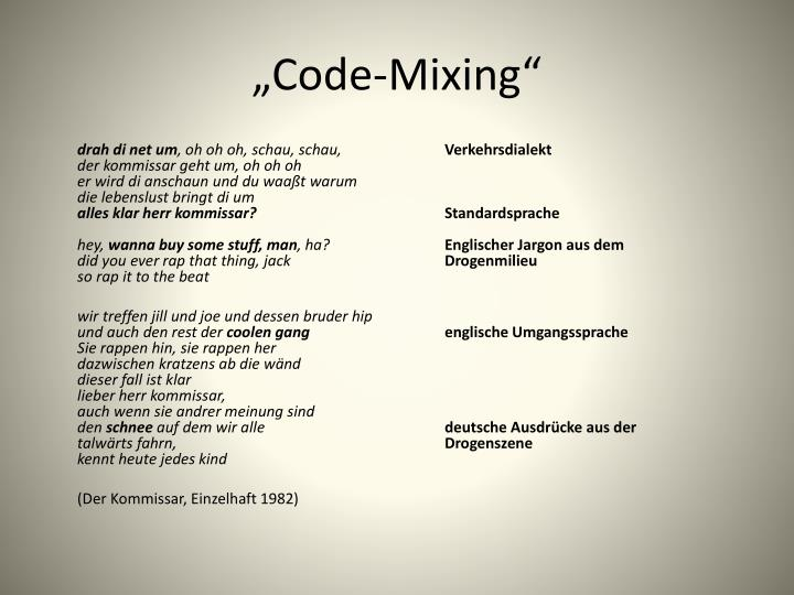code mixing Mixing - the act of mixing together paste made by a mix of flour and water the mixing of sound channels in the recording studio commixture , intermixture , mix , admixture , mixture compounding , combining , combination - the act of combining things to form a new whole.