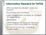 information needed for fafsa