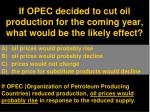 if opec decided to cut oil production for the coming year what would be the likely effect