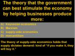the theory that the government can best stimulate the economy by helping businesses produce more