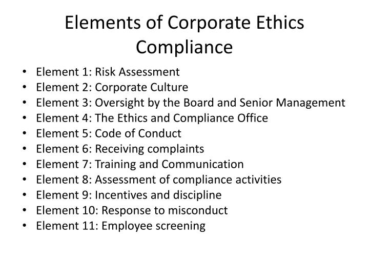 elements of corporate ethics compliance n.