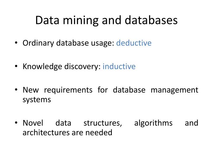Data mining and databases