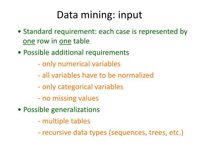Data mining: input