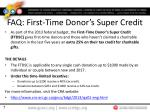 faq first time donor s super credit