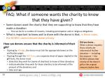 faq what if someone wants the charity to know that they have given