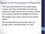 impact of the proclamation of neutrality