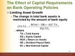 the effect of capital requirements on bank operating policies
